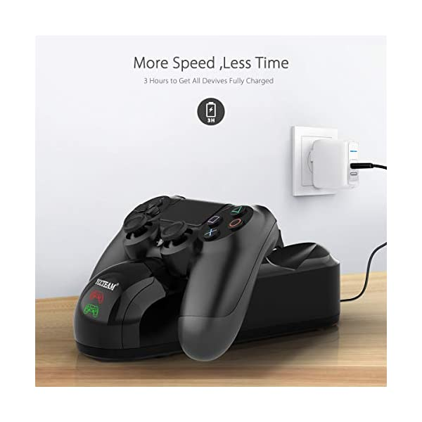 PS4 Controller Charger, WeiCheng Playstation 4 Controller Charging Station Gamepad Charger Stand Dock for Sony… 4