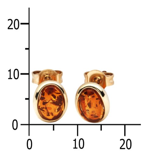 In Collections - 0010163330L100 - Boucles d'oreille Femme - Or jaune 333/1000 (8 cts) - ambre