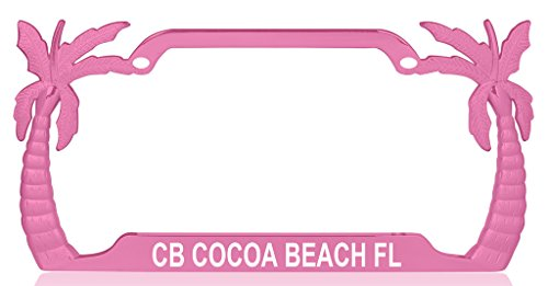 CB COCOA BEACH FL Palm Tree Design Pink Metal License Plate Frame Auto Tag