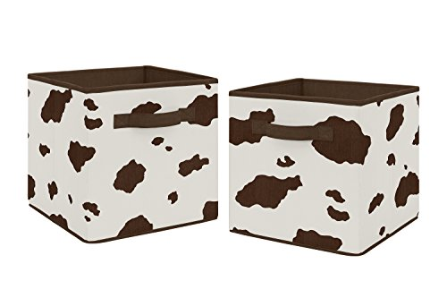 Brown and Cream Cow Print Foldable Fabric Storage Cube Bins Boxes Organizer Toys Kids Baby Childrens for Wild West Collection by Sweet Jojo Designs - Set of - Bedding Crib West Collection