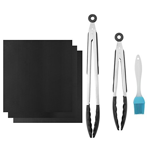 BBQ Grill Mats Set & Kitchen Silicone Tongs, Set of 3 Non-stick Barbecue Grill Mat + Set of 2 - 9,12 Inch Stainless Steel Grill Tong + 1 Pack Basting Brush Combo BBQ Tool Set