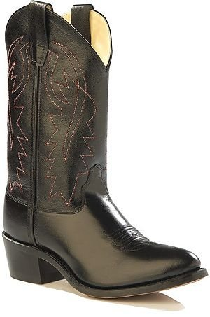 Kids Black Leather Cowboy Boots,size 4