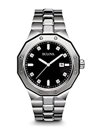 Bulova Men's Marine Star Diamond Accented Stainless Steel Bracelet Watch Black 98D103