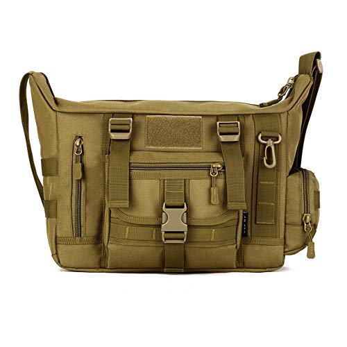 Military Shoulder Bag Large Water Resistant Daypack with Molle 14 Inch Laptop Crossbody Messenger Bag for Hunting Camping Trekking Men Women Brown