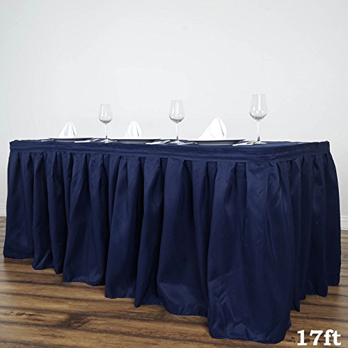 BalsaCircle 17 feet x 29-Inch Navy Blue Polyester Banquet Table Skirt Linens Wedding Party Events Decorations Kitchen Dining