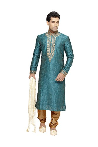 Jaipur Collections Indian Kurta Pajama Set For Men Wedding Festival Partywear In Green Art Silk by Jaipur Collections