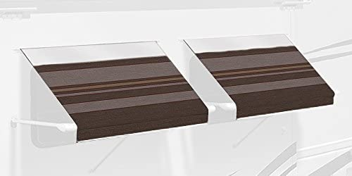 Carefree IE0607B00 SL Premium Chocolate 6.0 Long RV Camper Complete Window Awning with White Arms Chocolate Stripe with White Wrap and Red Tenera Thread