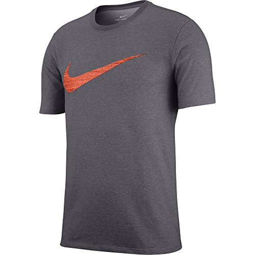 NIKE Men's Dry Swoosh Heather Tee, Dark Grey Heather, Small -