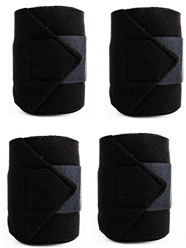 Challenger Horse Tack Grooming Leg set of 4 Fleece Polo Wrap Black Equine Care Rodeo 95R13