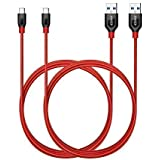 Anker PowerLine+ USB-C to USB 3.0 Cable (6ft, 2-Pack), High Durability, for Samsung Galaxy Note 8, S8, S8+, S9, MacBook, ChromeBook Pixel, Nexus 5X, Nexus 6P, Nokia N1 Tablet, OnePlus 2 and More(Red)