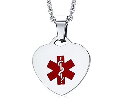 Free Engraving Stainless Steel Medical Alert Heart Tag Pendant (Peridot Forma Di Cuore Ciondolo)