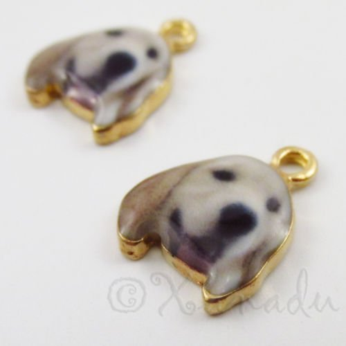 (Decoration Golden Retriever Puppy Dog 18mm Gold Plated Charms C2190-2,)