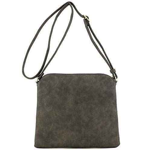 Lightweight Medium Crossbody Bag with Tassel (Pewter) by DELUXITY (Image #5)