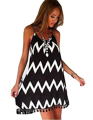 cokil Women Fashion Dress Striped Casual Loose Chiffon Swing Dress Beach Sea Plage Dresses