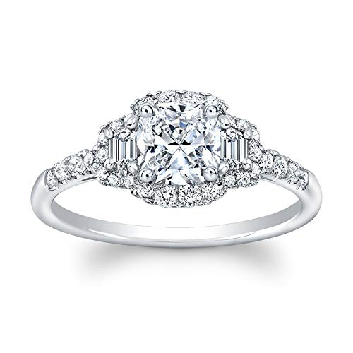 Cushion Cut Diamond Set in 18K White Gold Single Shank Pave Ring (Certified AGS .72 Center Stone J-K, VS1-VS2, 2 Traps .19 TW, 30 Full Cuts .27 TW)