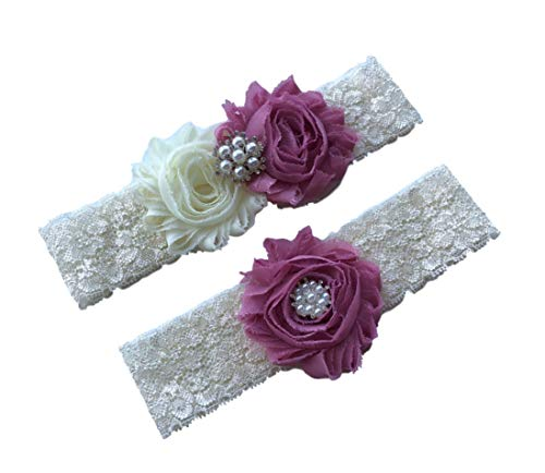Daddasprincess Wedding Garter Ivory Bridal Lace Plus Size Garter Something Blue (M:18-22 inches, Dusty pink)