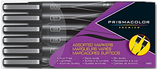(Prismacolor Premier Illustration Markers, Assorted Tips, Black, 6)