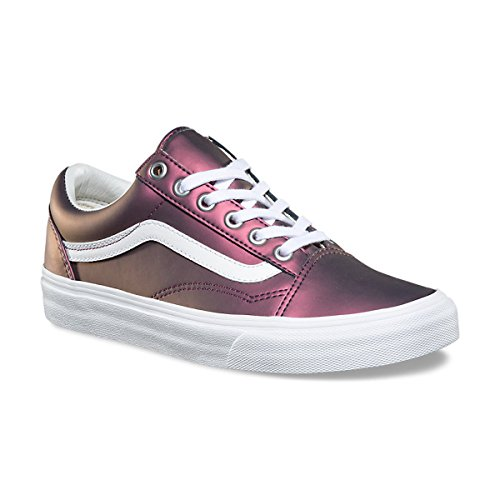 Vans Women's Muted Metallic Old Skool Skate Shoes (8 B(M) US, (Muted Metallic) Red/Gold)