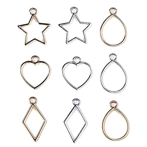 - Fityle 40x Fancy Natural Theme Heart-Star-Drop- Rhombus Charms Pendants Earrings Jewelry Findings DIY Charms Hair Band Wedding Party Embellishments