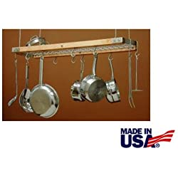 J.K. Adams 24-Inch-by-13-Inch Mini Ceiling Pot Rack, 10 Hooks Included, Natural