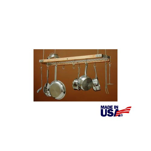 J.K. Adams 24-Inch-by-13-Inch Mini Ceiling Pot Rack, 10 Hooks Included, Natural made in Vermont