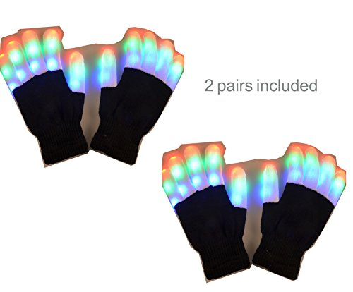 2 Pairs Light up Rave Gloves Glow Gloves Costume Toys for Kids Adults Party Favors Light Up Toys