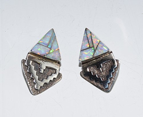 Sterling Silver White Opal Inlaid Post Earrings