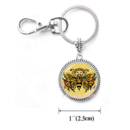 Queen Bee Keychain - Honeybee Keychain Bumble Bee Jewelry Entomology Jewelry for Divas Art Key Ring Royal Crown Gift for Her,H120 (S1) -