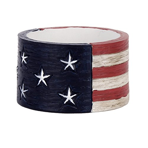 Saturday Knight Americana 4pc Napkin Ring Set, Red, White/Blue, 4 (4 Piece Blue Table Napkins)