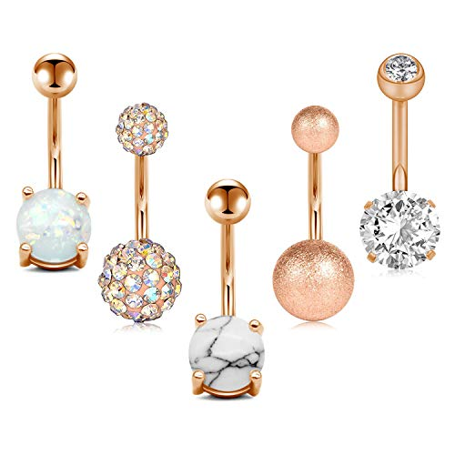 JFORYOU 5 Pcs Belly Button Rings Stainless Steel for Women Girls Navel Rings 5 Style 14G Navel Piercing Rose Gold Color Body Piercing Jewelry (Crystal Stone Belly Button Rings)