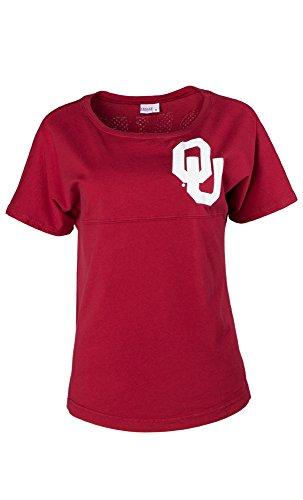 NCAA Oklahoma Sooners Callie Women's Short Sleeve Jersey Tee, Large, Crimson