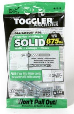 Mechanical Plastics 50470 Alligator Masonry Anchors, Flanged.25-In, 6-Pk. - Quantity 10