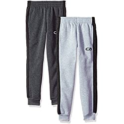 CB Sports Big Boys' 2 Fleece Pull on Pant, Pack Charcoal/Heather Grey, 8