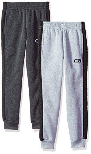 CB Sports Big Boys' 2 Fleece Pull on Pant, Pack Charcoal/Heather Grey, 8