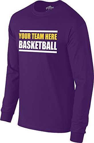 Silverfish Tees Custom Personalized  Your Team Here  Basketball Warm Up Long Sleeve Tee T Shirt