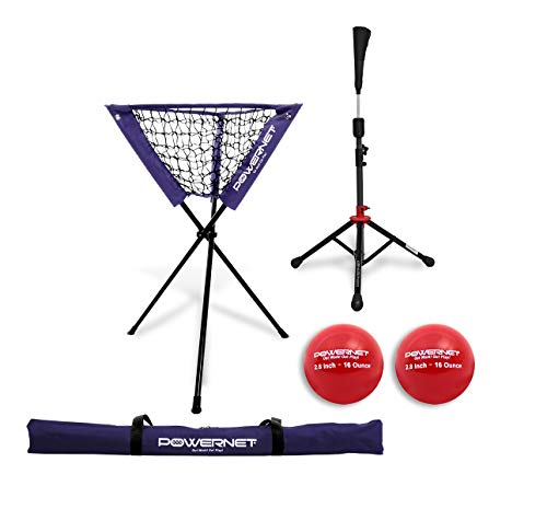 PowerNet Coach's Bundle Ball Caddy + Tee + 2 Pack Heavy Weighted Training Balls for Baseball Softball | Focus on Hitting Drills | Improve Contact Rate Power and Follow Through ()