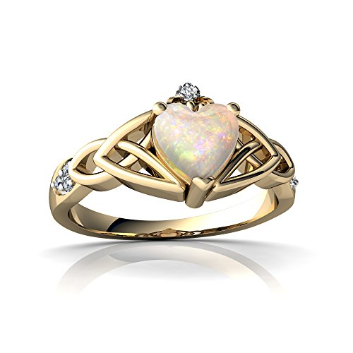 14kt Yellow Gold Opal and Diamond 6mm Heart Claddagh Trinity Knot Ring - Size 6 14kt Diamond Trinity Knot Ring