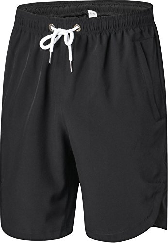 Mens Shorts - Quick Dry Stretchable Athletic Shorts for Running, Training, Workout – Swim Trunks for Watersports Swimming (XL, Black)
