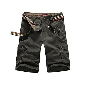 CANASOUR Mens Outdoor Twill Cotton Multi Pockets Cargo Shorts