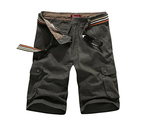 - CANASOUR Men Khaki Camouflage Multi Pockets Jogger Capri Cargo Shorts (US Size 40, Army Green)