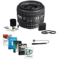 Nikon 35mm f/2D AF NIKKOR Lens - USA Warranty - Accessory Bundle with 52mm Filter Kit (UV/CPL/ND2), Lens Cap Leash, Lens Cleaning Kit, Pro Software Package
