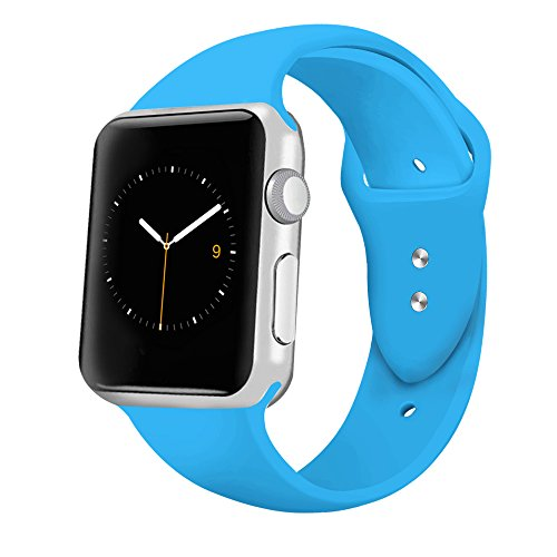 iGK Sport Band Compatible for Apple Watch 42mm, Soft Silicone Sport Strap Replacement Bands Compatible for iWatch Apple Watch Series 3, Series 2, Series 1 42mm Royal Blue Large
