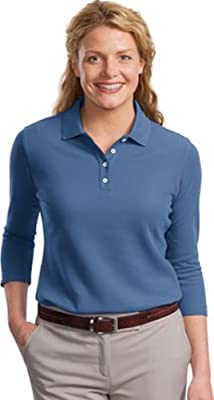Port Authority Women's EZCotton Pique 3/4Sleeve Polo