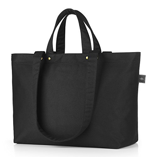 Hand Carry Shopper Tote Bag - Bonthee Canvas Tote Bag Large, Work Tote, Travel Tote, Handbag Women Large Shopper Shoulder Bag - Black Basic