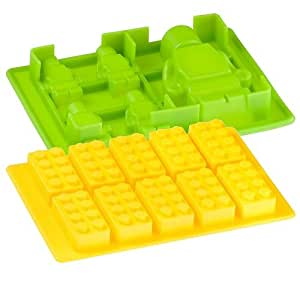 A&R Yellow silicone Building Brick & Green Multi-size Minifigure Silicone Ice Tray Candy Mold Set (Green/Yellow, 1) (yellow)