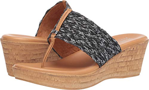 ITALIAN Shoemakers Womens Angeles Fashion Wedge Sandals Made in Italy,Black - Thong Black Wedge