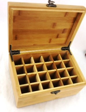 Beautiful Essential Oil Wooden Bamboo Storage Box 24 Compartment To Store And Protect Your