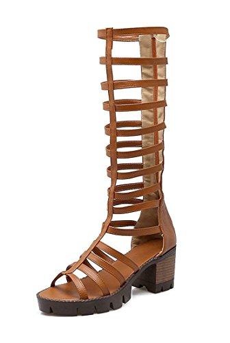 YE Women's Knee High Gladiator Outdoor Sandals Platform Block Heel Back Zip Shoes Brown