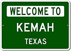 "Kemah, Texas - Welcome to US City State Sign - Aluminum 10"" x 14"" Inch, Novelty Sign for Home Decoration, Man Cave Street Sign, Unique Gift Sign, US City Sign, Made in The USA  A1014-100007-USA-581A Brand New Sign!  These metal street signs ..."