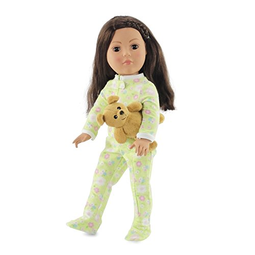 18 Inch Doll Soft Green Footed Heart Pajamas PJs with Teddy Bear | Clothes Fit American Girl Dolls | Onesie Style. Gift-boxed!